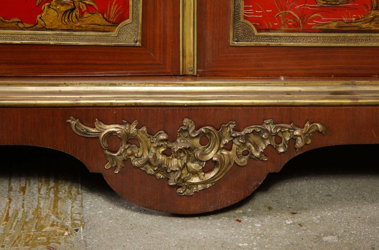 Pair of French 1940s Red Chinoiserie Cabinets with gilt bronze mounts For Sale 11