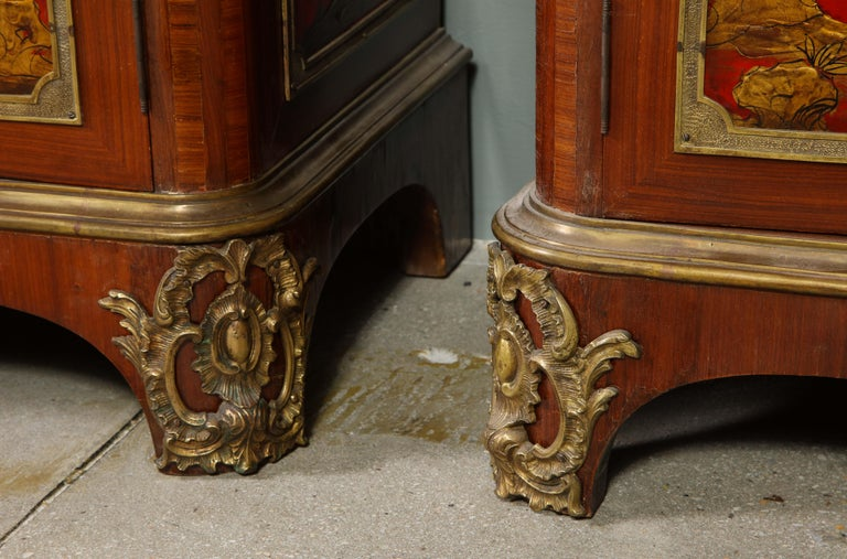 Pair of French 1940s Red Chinoiserie Cabinets with gilt bronze mounts For Sale 12