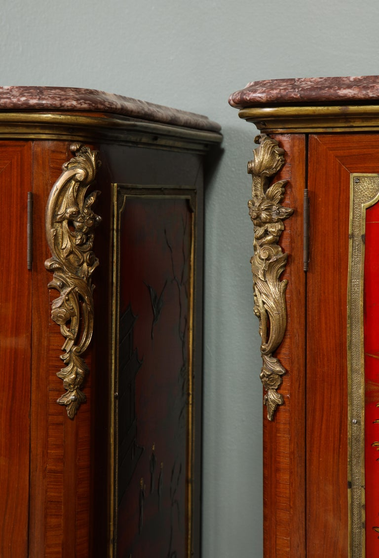 Pair of French 1940s Red Chinoiserie Cabinets with gilt bronze mounts For Sale 13