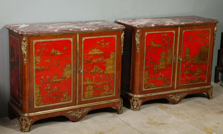 Pair of French 1940s Red Chinoiserie Cabinets with gilt bronze mounts For Sale 14