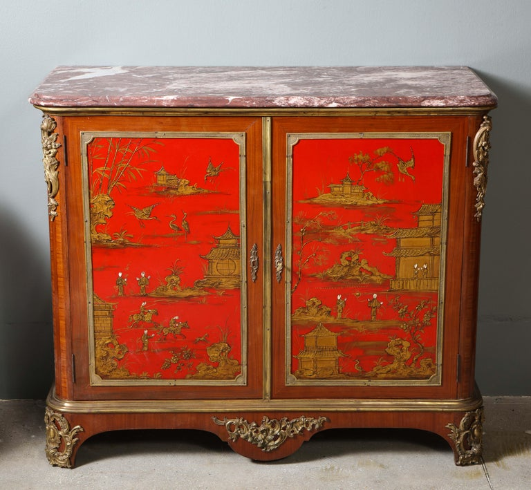 Art Deco Pair of French 1940s Red Chinoiserie Cabinets with gilt bronze mounts For Sale
