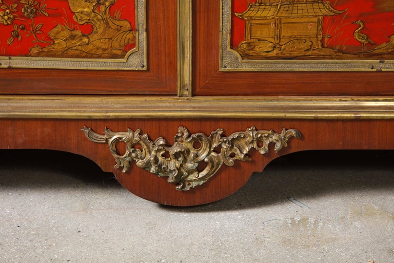 Pair of French 1940s Red Chinoiserie Cabinets with gilt bronze mounts In Good Condition For Sale In New York, NY