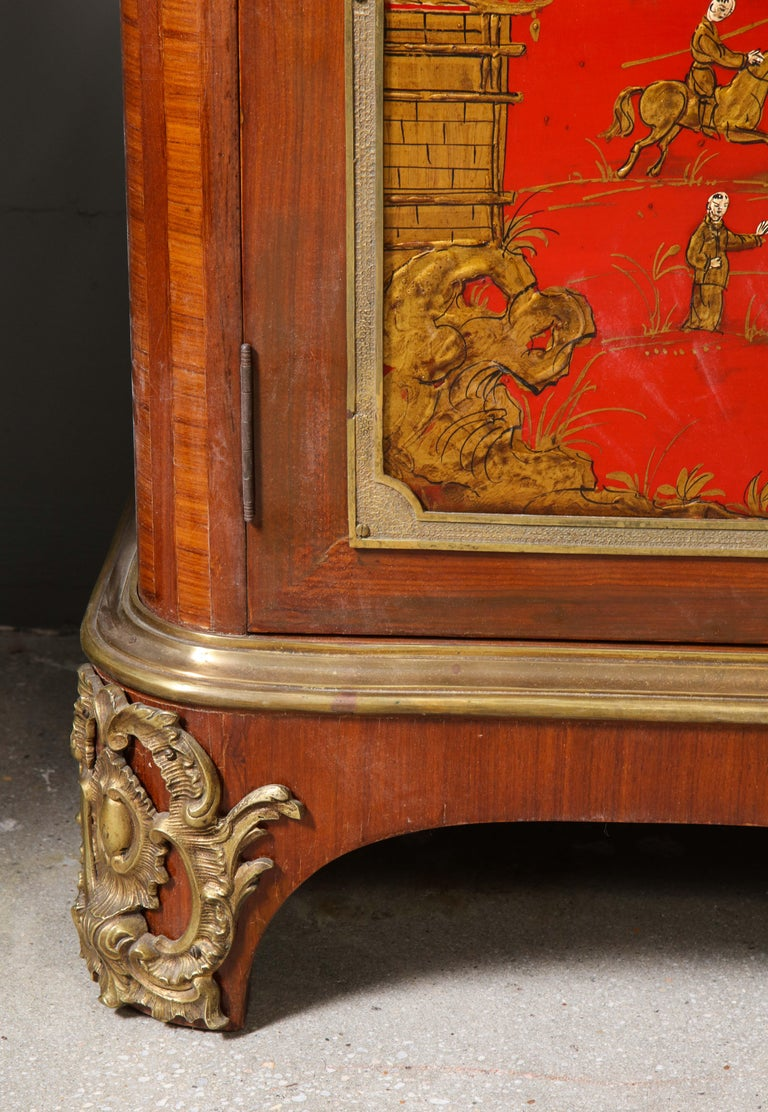 Mid-20th Century Pair of French 1940s Red Chinoiserie Cabinets with gilt bronze mounts For Sale