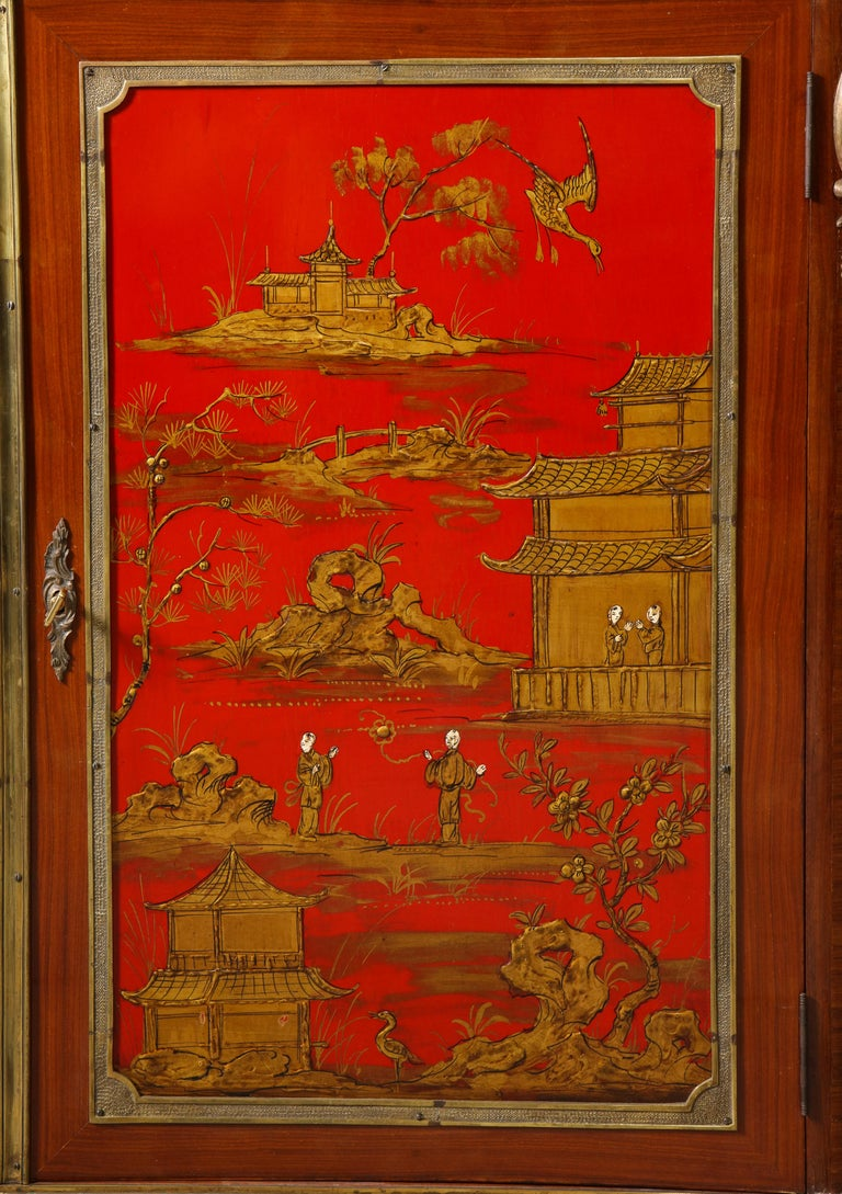 Pair of French 1940s Red Chinoiserie Cabinets with gilt bronze mounts For Sale 1