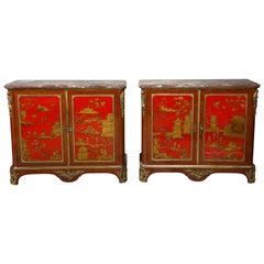 Pair of French 1940s Transitional Style Red Chinoiserie Cabinets