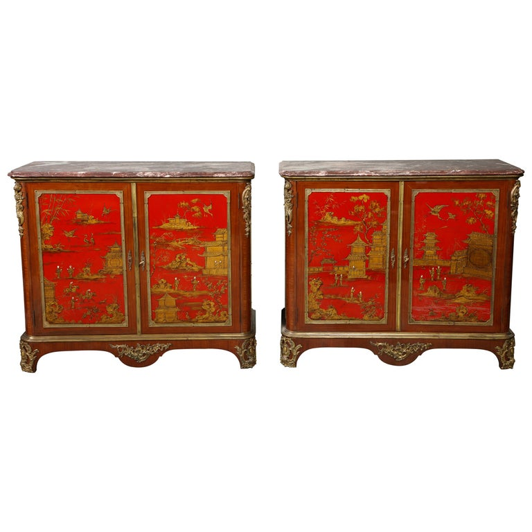 Pair of French 1940s Red Chinoiserie Cabinets with gilt bronze mounts For Sale