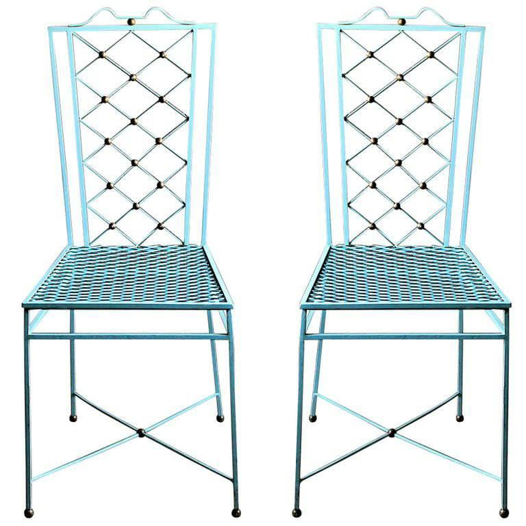 Pair of Jean Royere Style 1940s Wrought Iron Dining Chairs