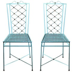 Pair of French 1940s Wrought Iron Rene Prou Style Dining Chairs