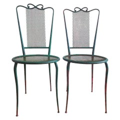 Pair of French 1950 Wrought Green Iron Chairs in the Style of René Prou