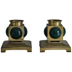 Pair of French 1950s Brass and Colored Glass Candlesticks