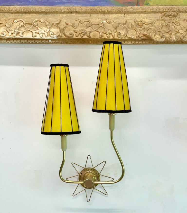 Pair of French 1950's Brass Wire Star Sconces For Sale 4