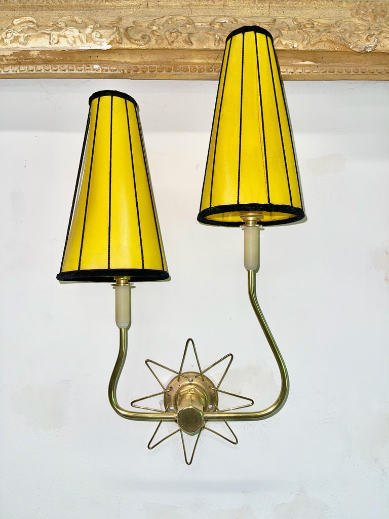 Pair of French 1950's Brass Wire Star Sconces For Sale 5