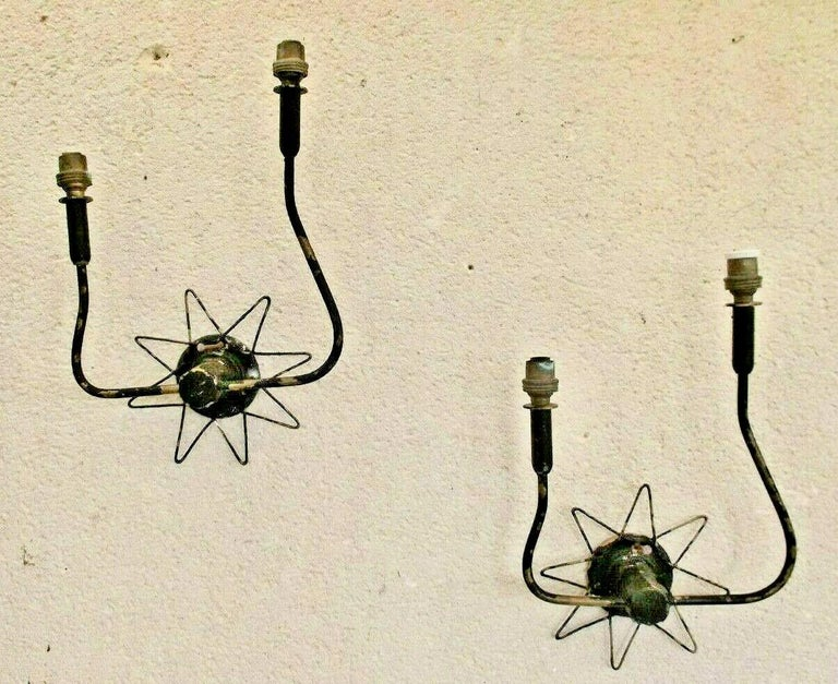 Pair of French 1950's Brass Wire Star Sconces For Sale 9