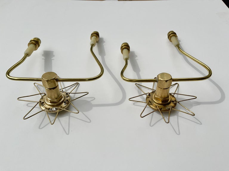 Pair of French 1950's Brass Wire Star Sconces For Sale 10
