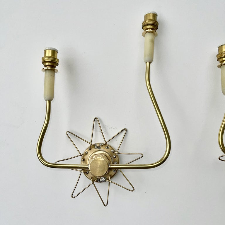Pair of French 1950's Brass Wire Star Sconces For Sale 12