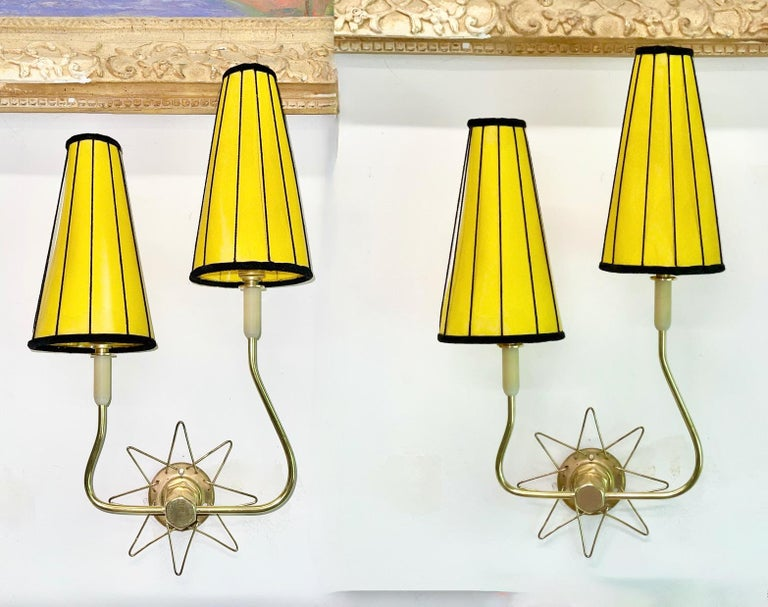 Pair of French 1950's Brass Wire Star Sconces In Good Condition For Sale In Hingham, MA