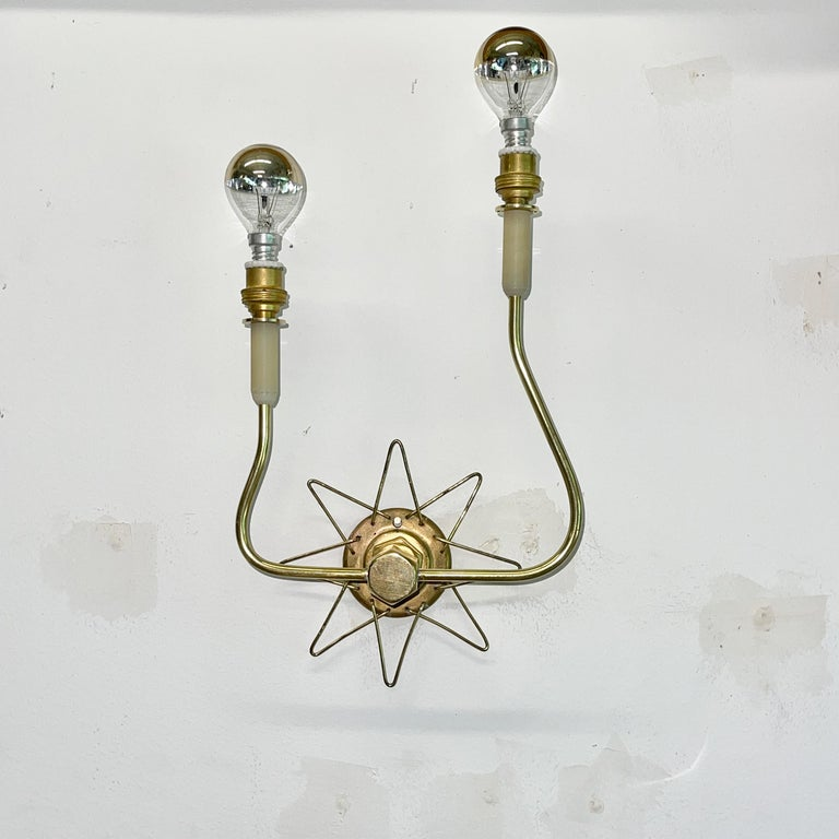 Nylon Pair of French 1950's Brass Wire Star Sconces For Sale