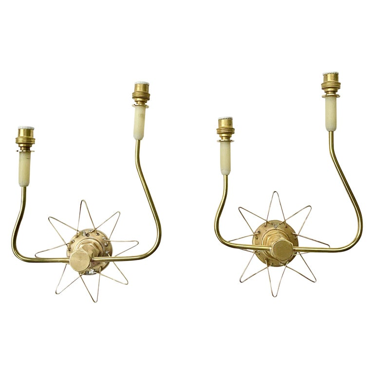 Pair of French 1950's Brass Wire Star Sconces For Sale