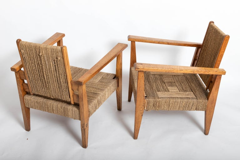 Mid-20th Century Pair of French 1950s Chairs For Sale