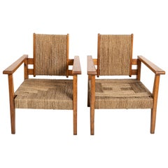 Pair of Mid-Century Oak Armchairs, France, circa 1950's