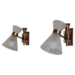 Pair of French 1950s Copper and Diabolo Glass Sconces