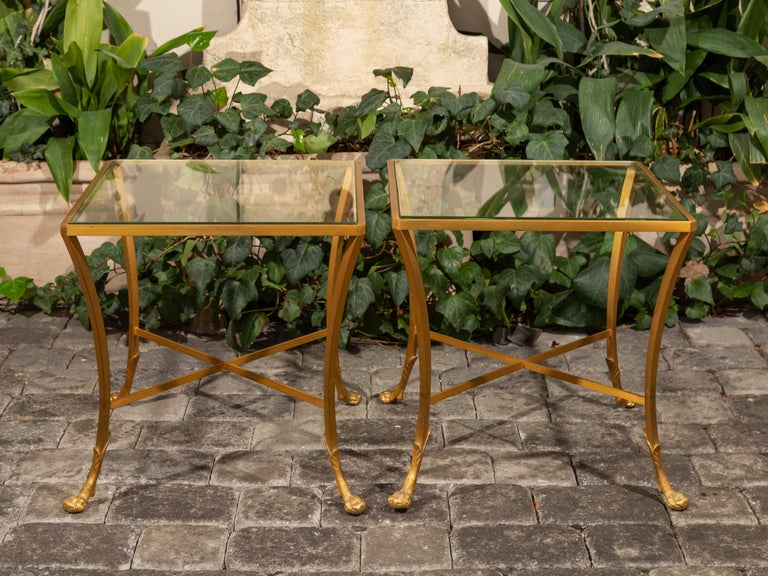 Mid-Century Modern Pair of French 1950s Maison Baguès Style Tables Made of Glass and Gilt Bronze For Sale