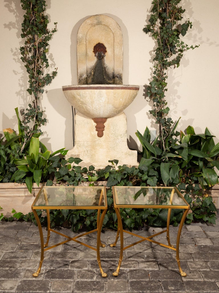 Pair of French 1950s Maison Baguès Style Tables Made of Glass and Gilt Bronze In Good Condition For Sale In Atlanta, GA