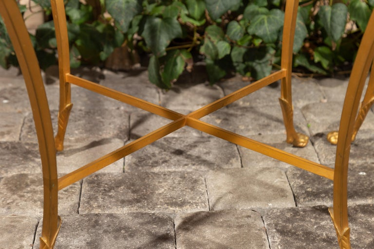 20th Century Pair of French 1950s Maison Baguès Style Tables Made of Glass and Gilt Bronze For Sale