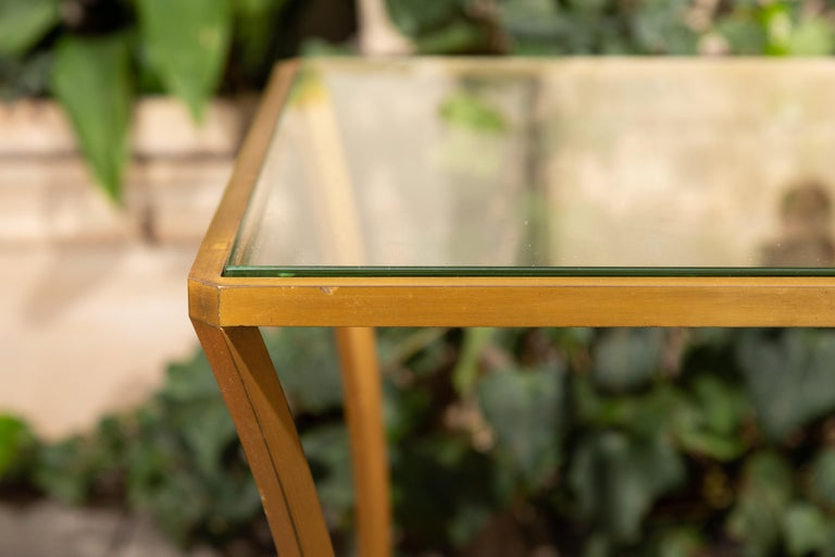 Pair of French 1950s Maison Baguès Style Tables Made of Glass and Gilt Bronze For Sale 2