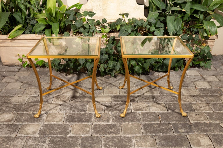 Pair of French 1950s Maison Baguès Style Tables Made of Glass and Gilt Bronze For Sale 4