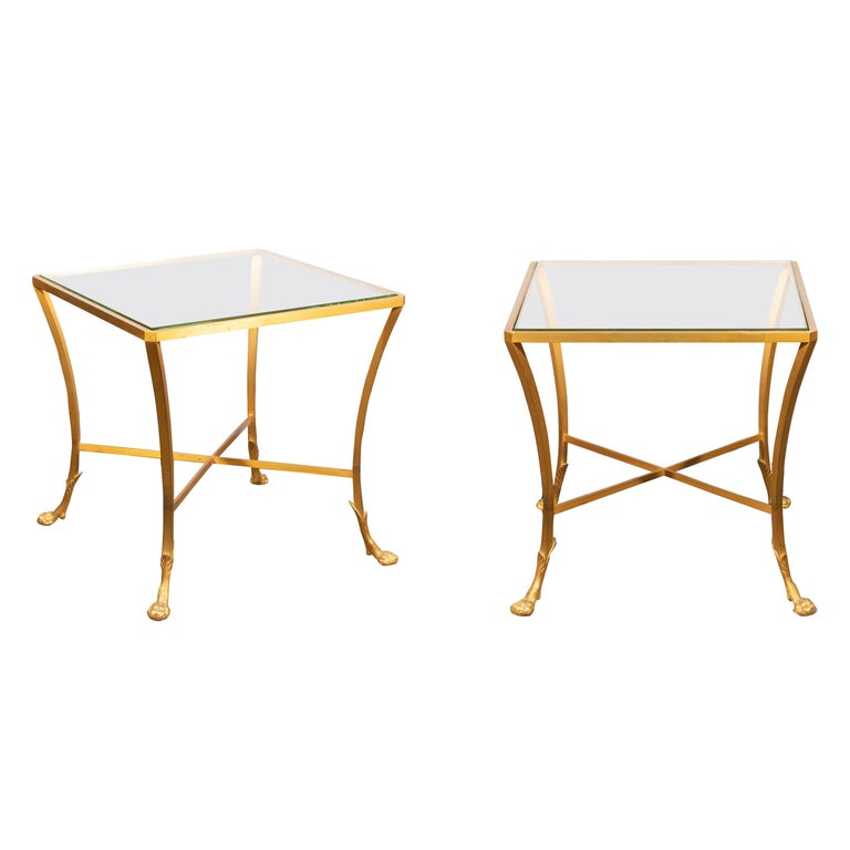 Pair of French 1950s Maison Baguès Style Tables Made of Glass and Gilt Bronze For Sale