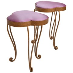Pair of French 1950s Purple Silk and Metal Stools