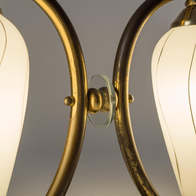 Pair of French 1950s Table Lamps, Enameled Glass, Brass and Stone For Sale 5