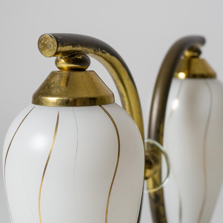 Pair of French 1950s Table Lamps, Enameled Glass, Brass and Stone For Sale 6