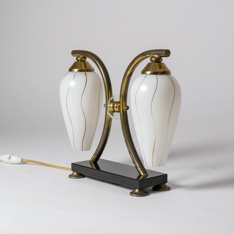 Pair of French 1950s Table Lamps, Enameled Glass, Brass and Stone For Sale 9