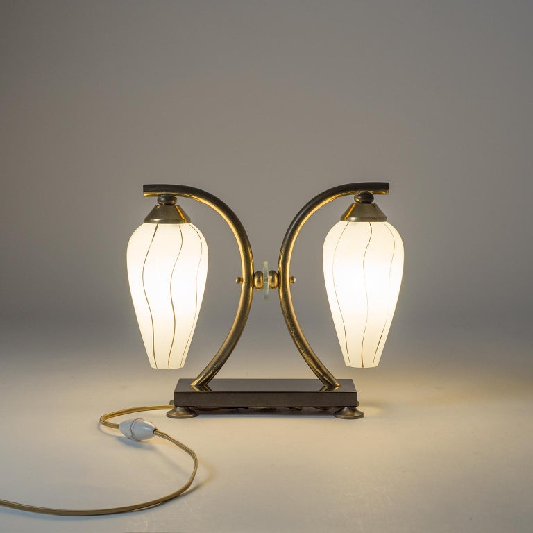 Pair of French 1950s Table Lamps, Enameled Glass, Brass and Stone For Sale 11