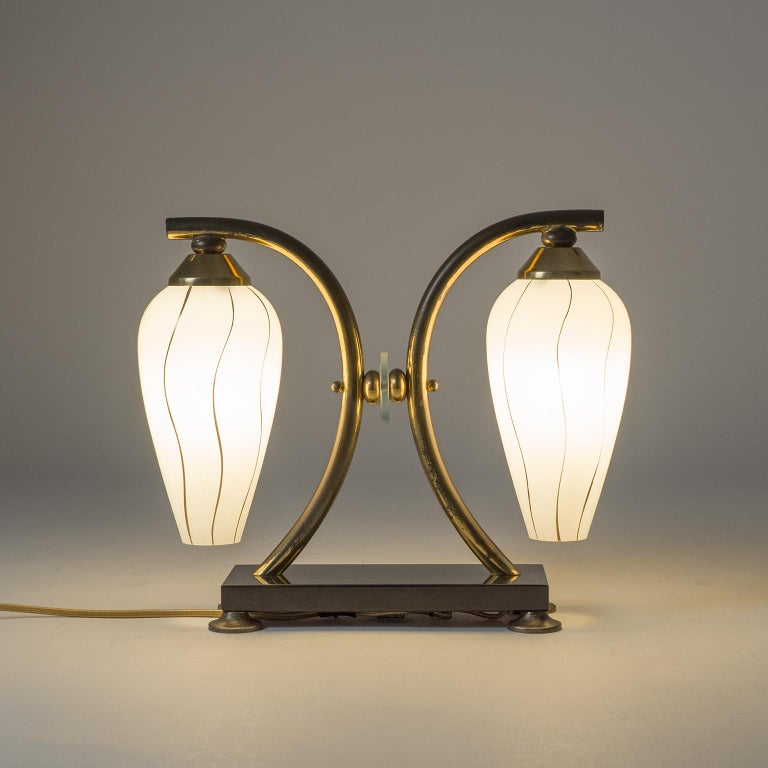 Mid-Century Modern Pair of French 1950s Table Lamps, Enameled Glass, Brass and Stone For Sale