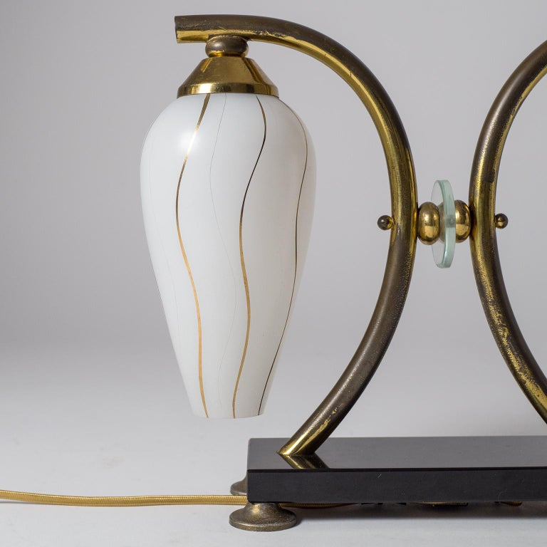Mid-20th Century Pair of French 1950s Table Lamps, Enameled Glass, Brass and Stone For Sale