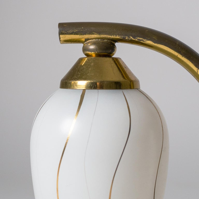 Pair of French 1950s Table Lamps, Enameled Glass, Brass and Stone For Sale 2