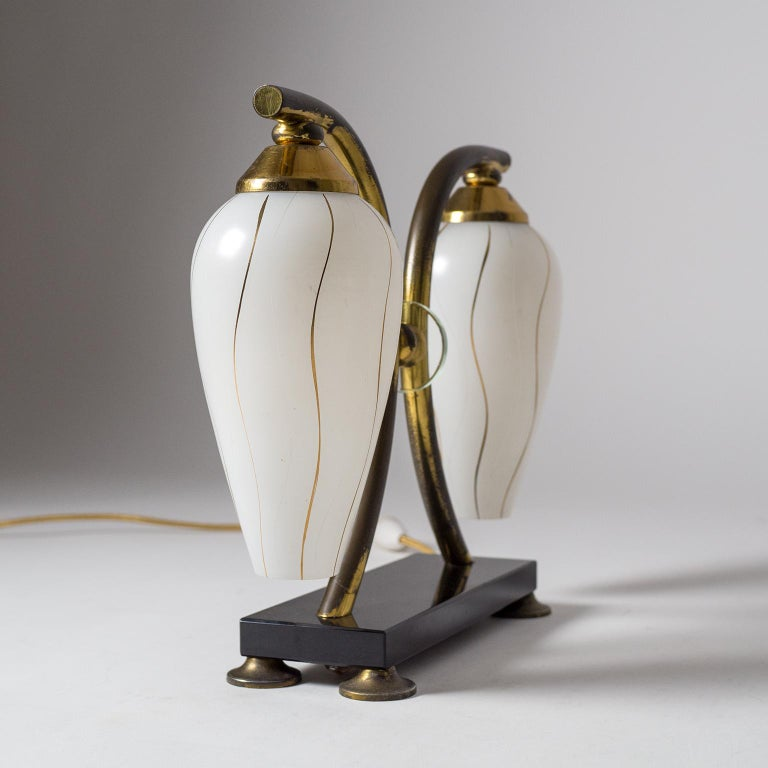 Pair of French 1950s Table Lamps, Enameled Glass, Brass and Stone For Sale 3