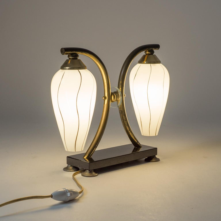Pair of French 1950s Table Lamps, Enameled Glass, Brass and Stone For Sale 4