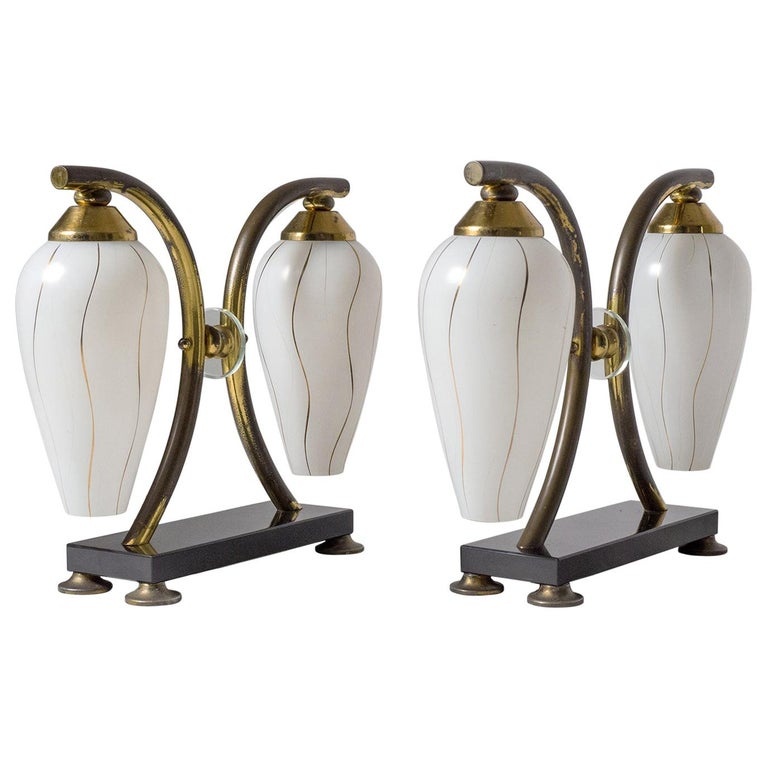 Pair of French 1950s Table Lamps, Enameled Glass, Brass and Stone For Sale