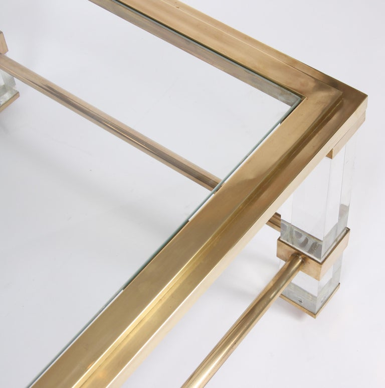 Pair of French 1960s Brass and Lucite Tables In Good Condition For Sale In London, GB