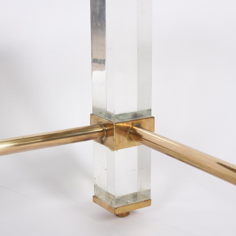 Pair of French 1960s Brass and Lucite Tables For Sale 1
