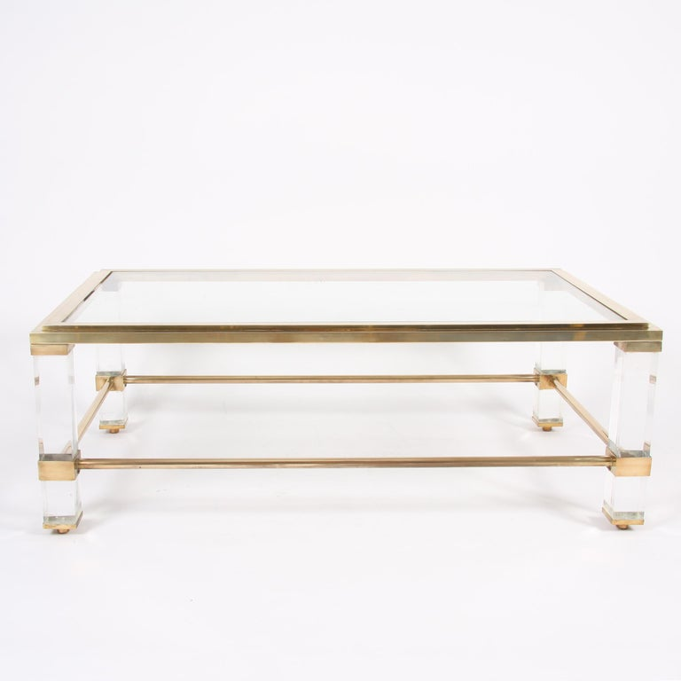Pair of French 1960s Brass and Lucite Tables For Sale 3