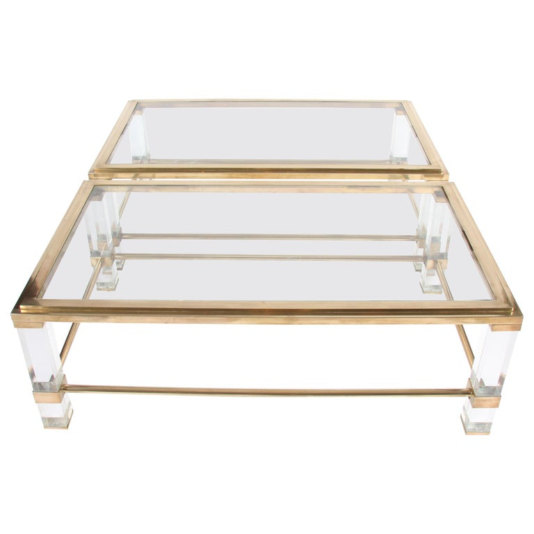 Pair of French 1960s Brass and Lucite Tables For Sale