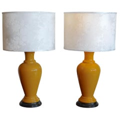 Pair of French 1960s Ceramic Table Lamps and Shades
