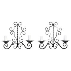 Pair of French 1960s Hand Painted Wrought Iron Wall Sconces with 2-Light Each