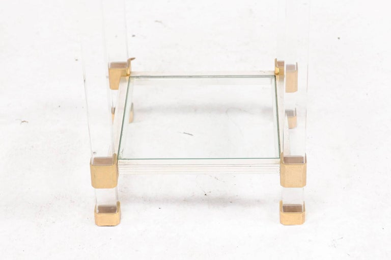 Mid-Century Modern Pair of French 1960s Pierre Vandel Metal, Brass, Lucite and Glass Side Tables For Sale