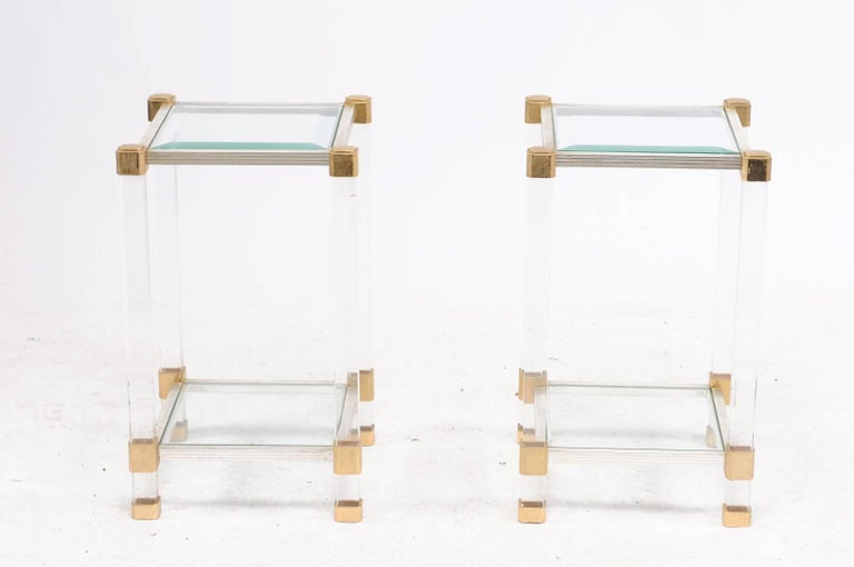 Pair of French 1960s Pierre Vandel Metal, Brass, Lucite and Glass Side Tables In Good Condition For Sale In Atlanta, GA